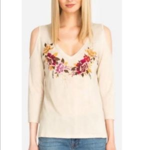 Johnny Was Embroidered Floral Sweater Size Large